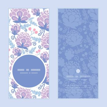 Vector soft purple flowers vertical round frame pattern invitation greeting cards set graphic design