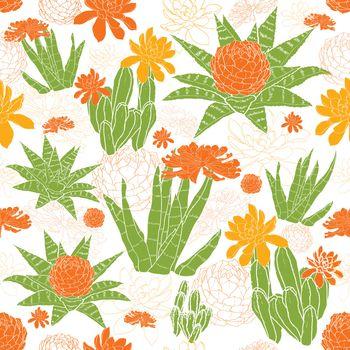 Vector Green Golden Succulents Seamless Pattern graphic design