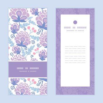 Vector soft purple flowers vertical frame pattern invitation greeting cards set graphic design