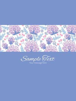 Vector soft purple flowers stripe frame vertical card invitation template graphic design