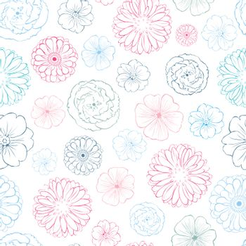 Vector Pink Blue Lineart Flowers Heads Seamless Pattern graphic design
