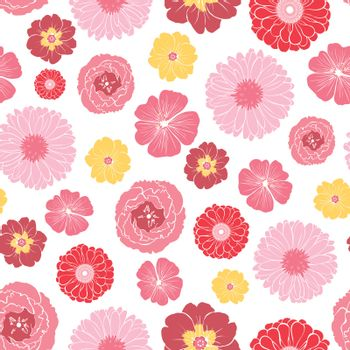 Vector Pink Gold Field Flowers Seamless Pattern graphic design