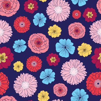 Vector Vibrant Folk Flowers Seamless Pattern graphic design