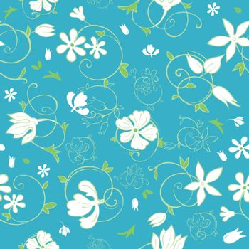Vector Blue Green White Spring Florals Seamless Pattern graphic design