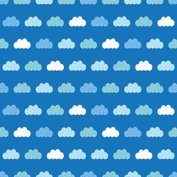 Vector Clouds Blue Sky Seamless Pattern graphic design