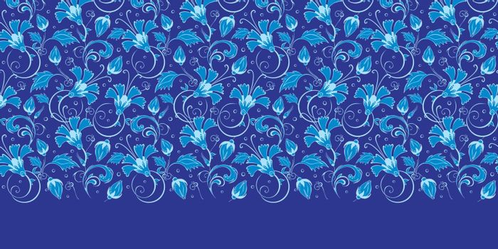 Vector dark blue turkish floral horizontal border seamless pattern background graphic design