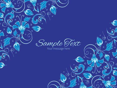 Vector dark blue turkish floral horizontal double corners frame invitation template graphic design