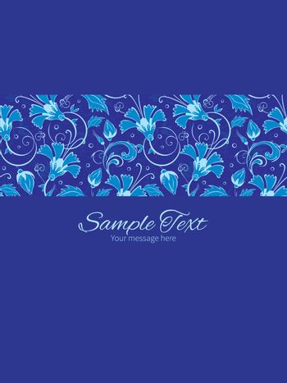 Vector dark blue turkish floral stripe frame vertical card invitation template graphic design