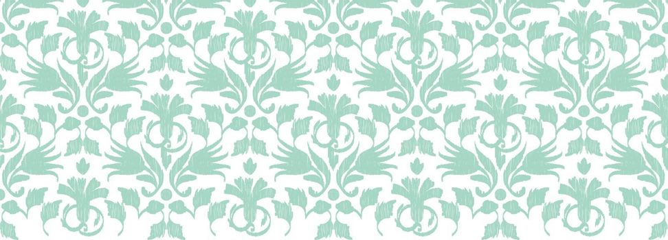 Vector abstract green ikat horizontal border seamless pattern background graphic design