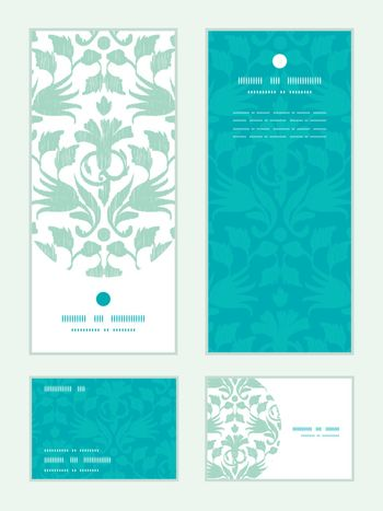Vector abstract green ikat vertical frame pattern invitation greeting, RSVP and thank you cards set graphic design