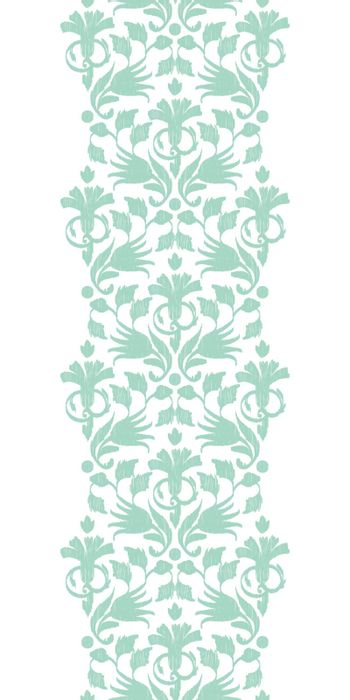 Vector abstract green ikat vertical border seamless pattern background graphic design
