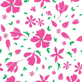 Vector Magenta Flowers Silhouettes Seamless Pattern graphic design