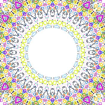 White background with bright colorful abstract pattern frame