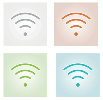 four wifi symbol winh gray, red, green and blue background