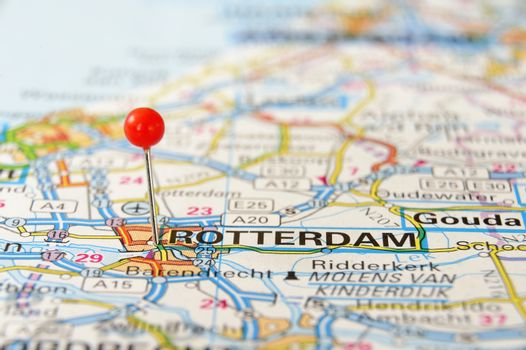 Travel destination rotterdam holland on the map.
