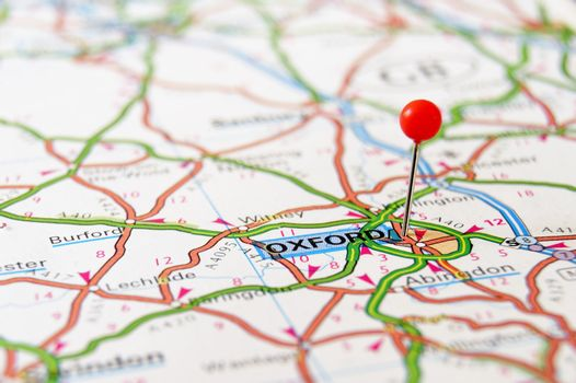 Travel destination Oxford UK on the map