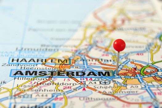 Travel destination amsterdam holland on the map