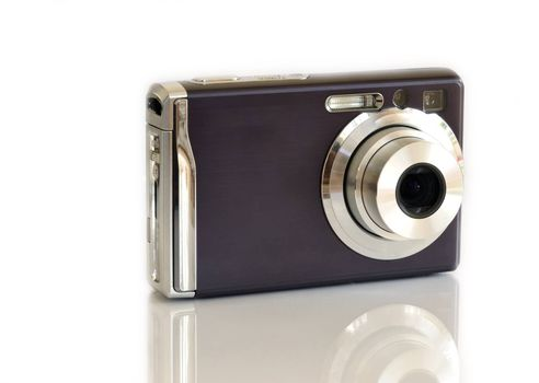 Compact digital camera isolated on white.