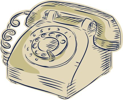 Telephone Vintage Etching