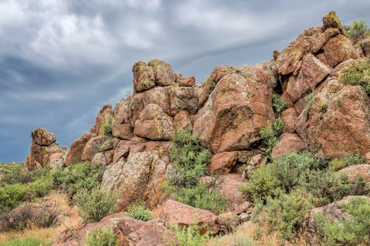 sandstone rock formation under stormy sky - Eagle Nest Open Space near Fort Collins, COlorado, summer scenery