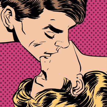A man and a woman kiss love relationship romance