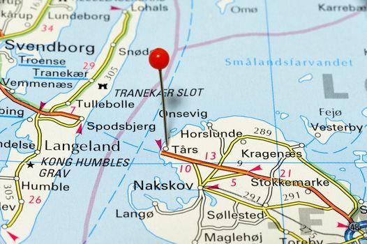Closeup map of Nakskov. Nakskov a city in Denmark.