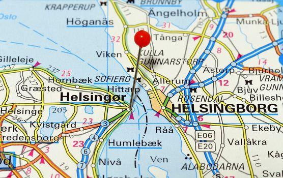 Closeup map of Helsingor. Helsingor is a city in Denmark.