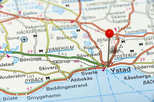 Closeup map of Ystad. Ystad a city in Sweden
