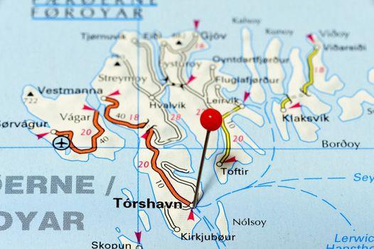 Closeup map of Torshavn. Torshavn is Faroe Islands capital.