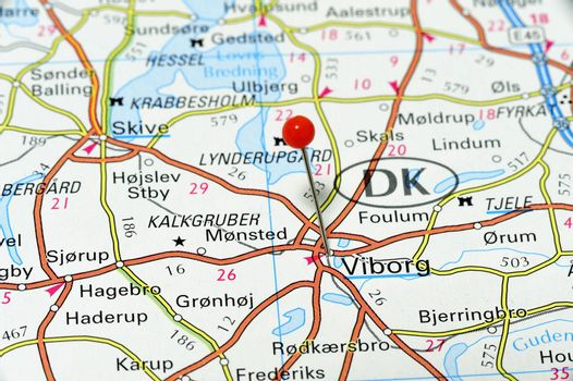Map of Viborg in Denmark