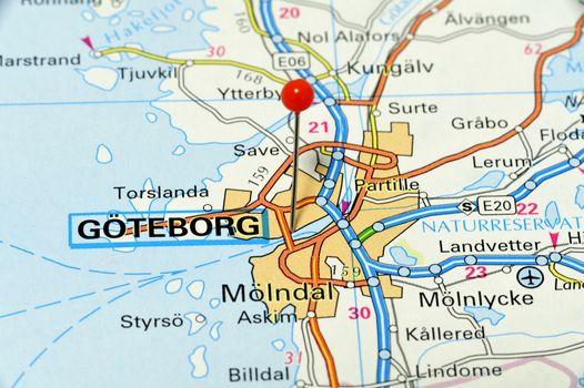Closeup map of Göteborg. Göteborg a city in Sweden.