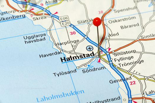 Closeup map of Halmstad. Halmstad a city in Sweden.
