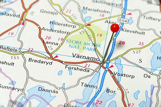 Closeup map of Värnamo. Värnamo a city in Sweden.