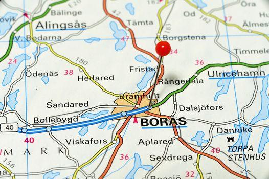 Closeup map of Borås. Borås a city in Sweden.