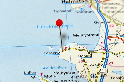 Closeup map of Torekov. Torekov a small city in Sweden.