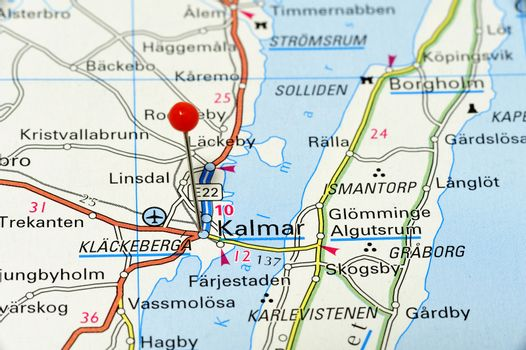 Closeup map of Kalmar. Kalmar a city in Sweden.