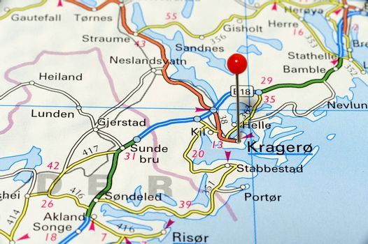 Closeup map of Kragero. Kragero a city in Norway.