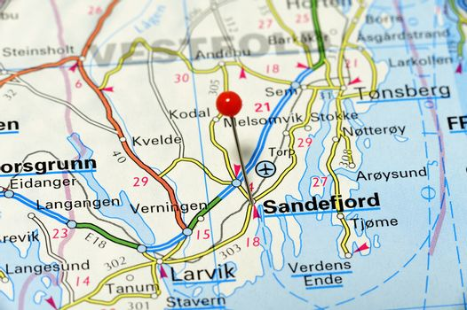 Closeup map of Sandefjord. Sandefjord a city in Norway.