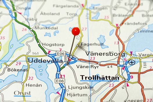 Closeup map of Uddevalla. Uddevalla a city in Sweden.