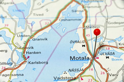 Closeup map of Motala. Motala a city in Sweden.