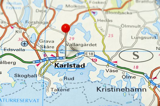 Closeup map of Karlstad. Karlstad a city in Sweden.