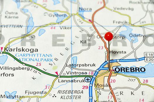 Closeup map of Örebro. Örebro a city in Sweden.