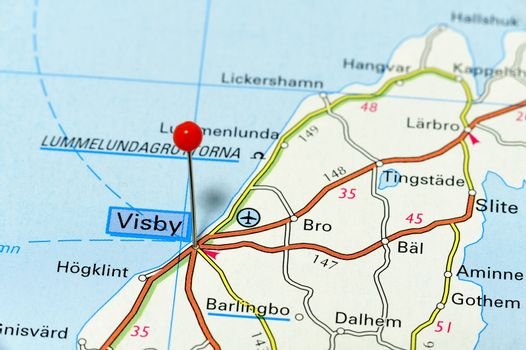 Closeup map of Visby. Visby a city in Gotland Island.