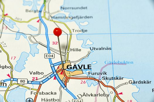 Closeup map of Gävle. Gävle a city in Sweden.