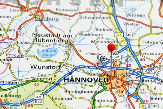 European cities on map series: Hannover