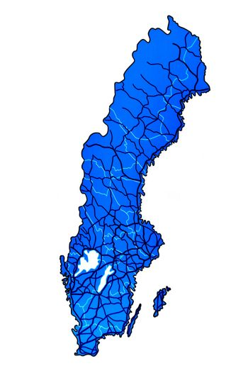 Map of Sweden with rivers