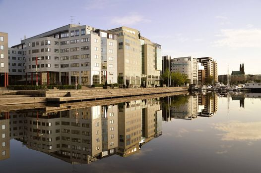 Modern Building on Sky Background.