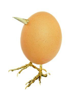Chicken egg as bird with legs and beak