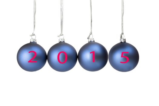 Four blue christmas balls with numbers of present year