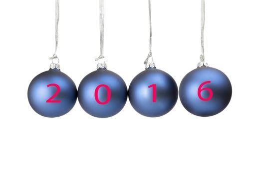 Four blue christmas baubles symbolizing new year 2016